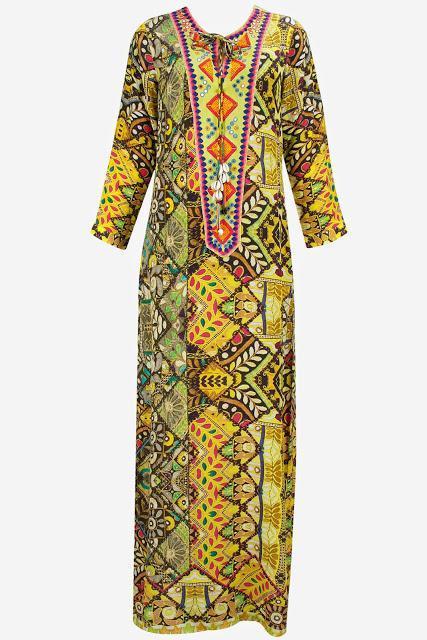 Hemant And Nandita Yellow banjara print mirror and thread embroidered kaftan dress Rs. 19,600