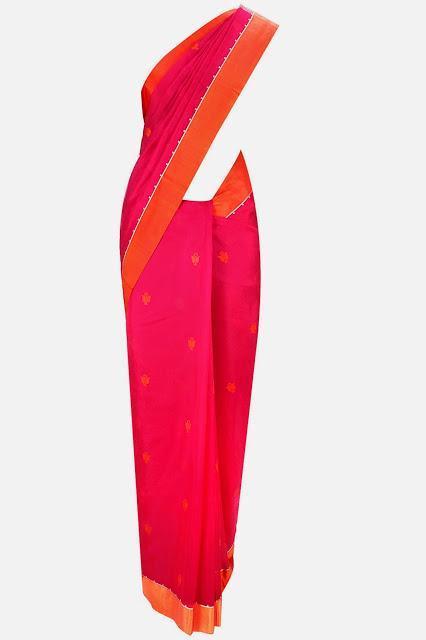 RAJESH PRATAP SINGH Fuchsia hope flower motifs woven sari with orange blouse piece Rs. 23,400
