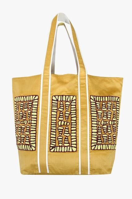 PIA PAURO Mustard embroidered tote bag Rs. 9,500