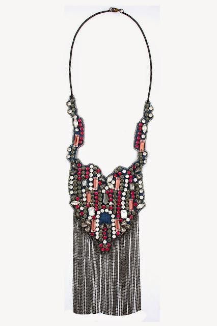 Hemant And Nandita Pink and silver swarovski chain fringe necklace Rs. 4,800