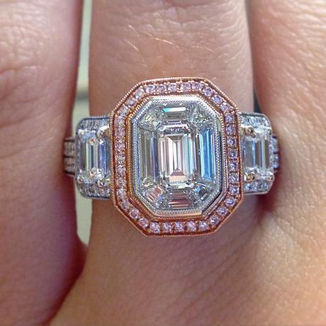 Simon G emerald cut and pink diamond engagement ring