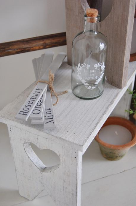 Herb Markers, Vintage style homeware, French Glass Bottle, Shabby Chic flower stool, Shabby Chic heart