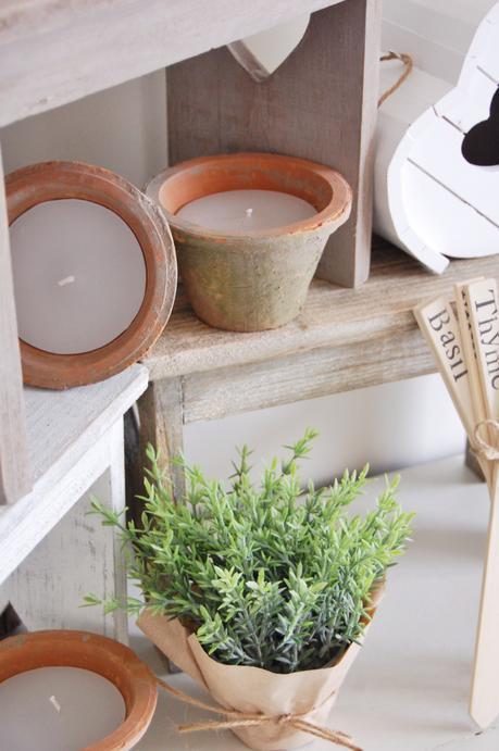 Plant pots, Vintage plant pots, rustic garden, candle pots, garden candle,