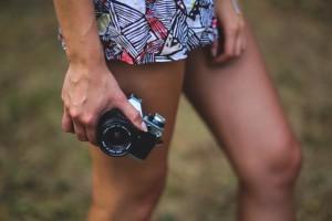 girl - camera - shorts