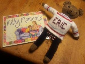 Eric the bear ... appearing on every page in Milky Moments book