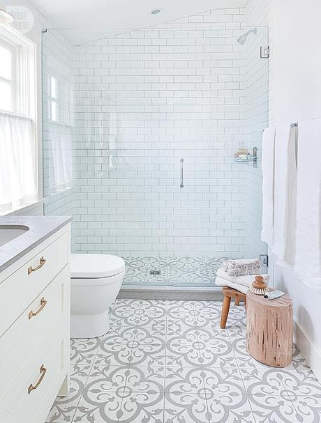 not so plain white bathroom with great walk-in shower, gray & white floor tiles and gray countertop add interest to basic white room, change gold handles to match shower fixtures, Vancouver, BC
