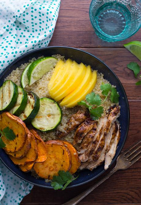 Jamaican Jerk Chicken Bowls with Grilled Veggies and Mango-3