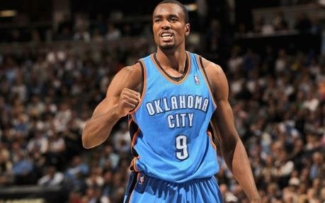 DENVER, CO - APRIL 23: Serge Ibaka #9 of the Oklahoma City Thunder celebrates a play against the Denver Nuggets in Game Three of the Western Conference Quarterfinals in the 2011 NBA Playoffs on April 23, 2011 at the Pepsi Center in Denver, Colorado. The Thunder defeated the Nuggets 97-94 to take a 3-0 lead in the series. NOTE TO USER: User expressly acknowledges and agrees that, by downloading and or using this photograph, User is consenting to the terms and conditions of the Getty Images License Agreement.   Doug Pensinger/Getty Images/AFP