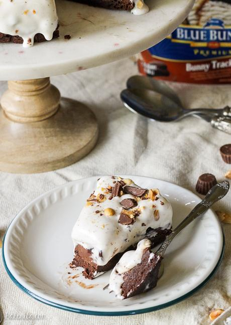 This Bunny Tracks Ice Cream Pie has a layer of rich, fudgy brownie, topped with peanut butter chocolate ganache and a thick layer of Bunny Tracks Ice Cream!