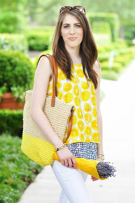 Anthropologie Lemon Print Layered Swing Tank