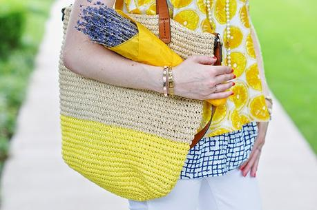 Gap colorblock straw tote