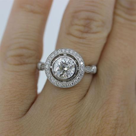 Platinum 1.43ct Old European Cut Diamond Engagement Ring