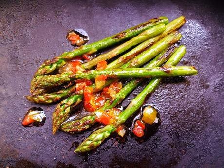 chargrilled asparagus with tomato, mint, chilli and lemon dressing
