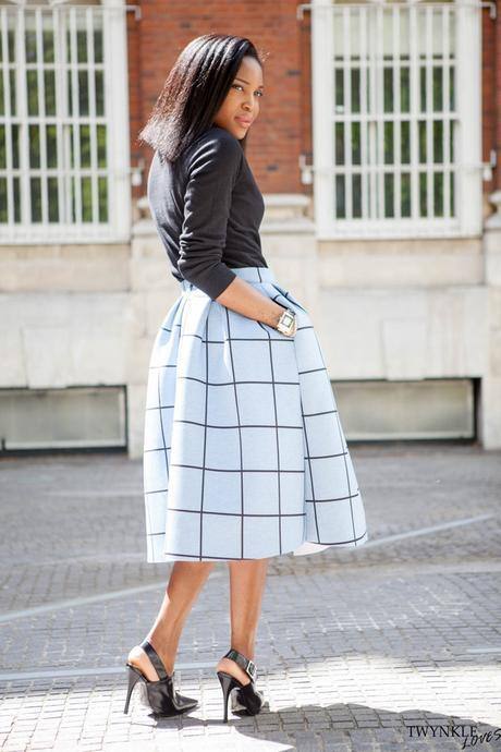 Today I'm Wearing: Blue Check Midi Skirt