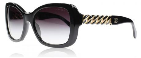 Oversized square pair of sunglasses with lacquered metal chain temples