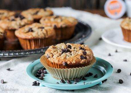 These Coffee Chocolate Chip Streusel Muffins are made with fresh Dunkin' Donuts coffee, filled with chocolate chips, and topped with a delicious streusel crumb topping!