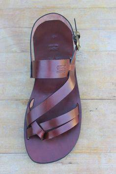 Mens flat leather sandals Conquest $70 Etsy handmade