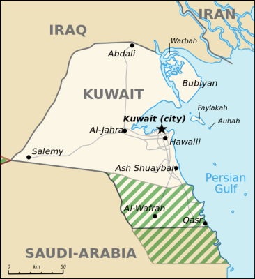 Kuwait borders Iraq and Saudi Arabia and there is also a