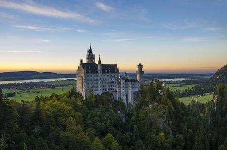 Neuschwanstein castle at sunset,  perhaps King Ludwig's fav time