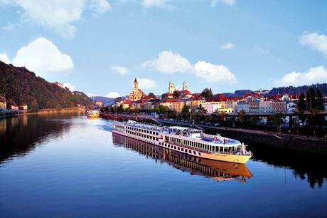 Viking River Cruise Ship on Danube with Passau in the background
