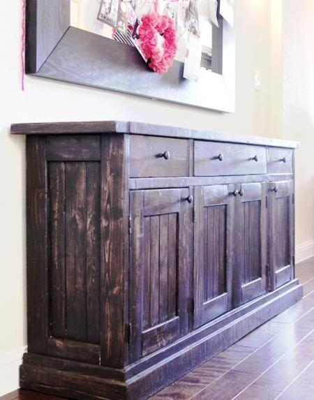 Build your own Rustic Sideboard/Buffet Table. Free #Plans at Ana-White.com #DIY