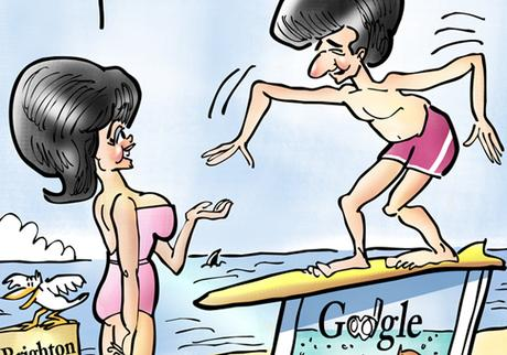 detail image Frankie Avalon Annette Funicello on Brighton Beach parody of 1960s beach movies surfboard on computer with Google landing page joke surfing internet with shark seagull