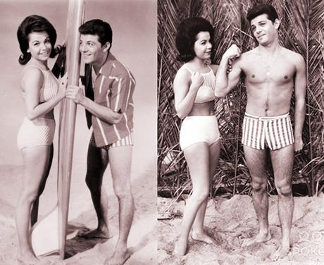 Frankie Avalon Annette Funicello beach movie publicity photos with surfboard sand big bicep muscles pose gets admiring look