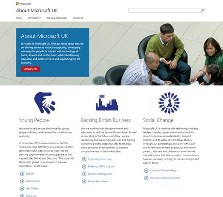 Microsoft About Page Web Design