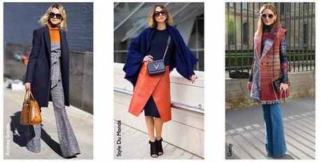Stylish Outfit Inspirations   70's Style Boot-cut Jeans, Asymmetrical Fauxk Leather Skirt Topped With An Oversized Trench/Jacket