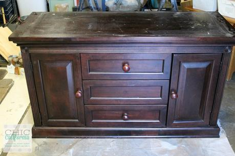 painted changing table turned media cabinet