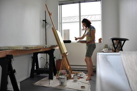 Oil painter Cedar Lee in her Portland, OR art studio