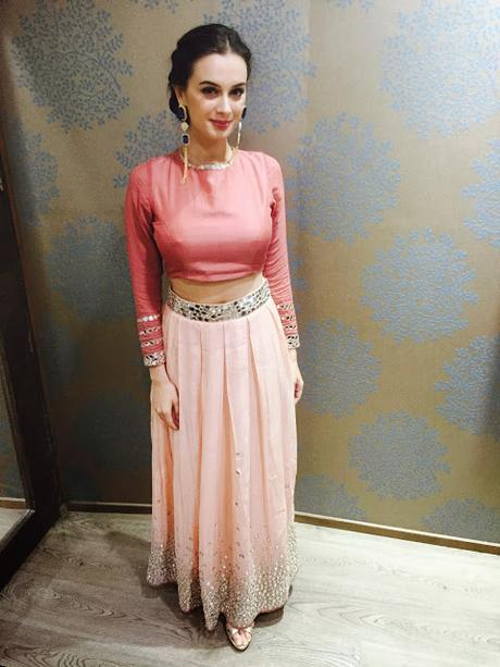 SPOTTED | Evelyn Sharma Spotted Wearing Pleated Pink Skirt and Crop Top/Blouse With Delsie RIsa