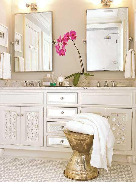 Mirrored doors, white tile, maybe gold stool for makeup vanity. | White Bathroom | Home | Interior | Design | Decoration | Organization |