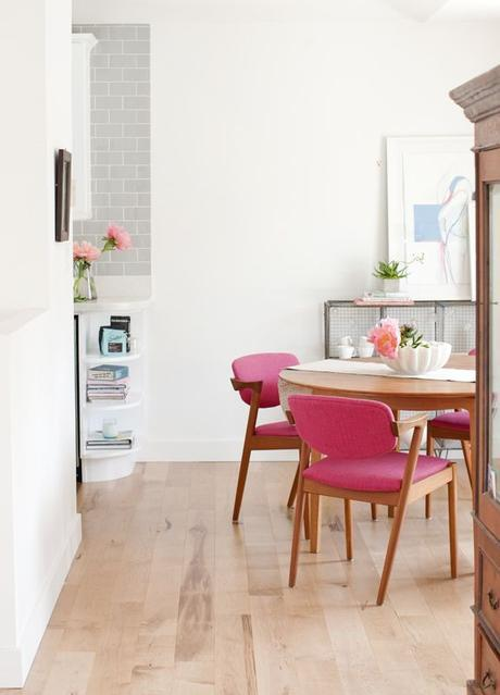 Bold pink dining chairs