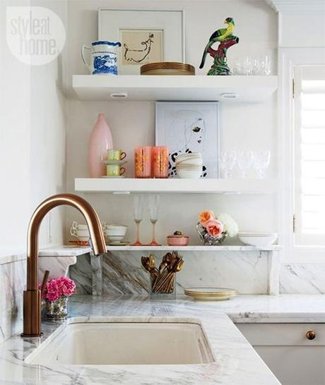 Open display shelving in the kitchen. Stylish use of a corner space via: Style at Home