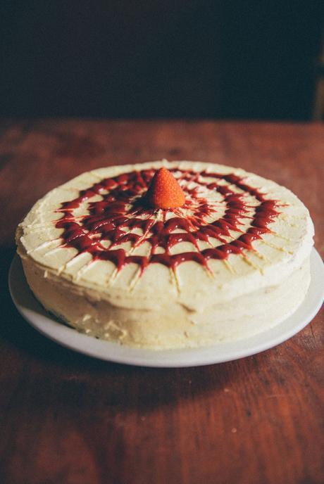 Coconut Flour Cake with Strawberry Jam // www.WithTheGrains.com