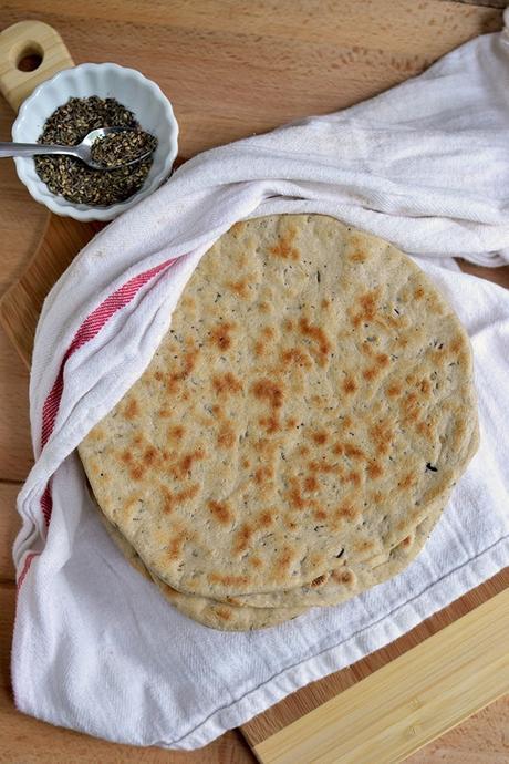 Za'atar spiced Khobez/ Khobz (Arabic Flat bread) for #BreadBakers