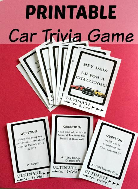 Printable DIY Car Trivia Game. Perfect gift for the car-fanatic Dad! #TheGiftOfClean #ad