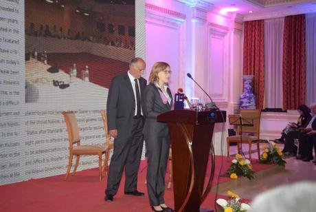 CIPE Senior Consultant Carmen Stanila accepting awards on behalf of CIPE
