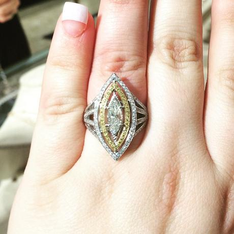 Two tone Marquise engagment ring
