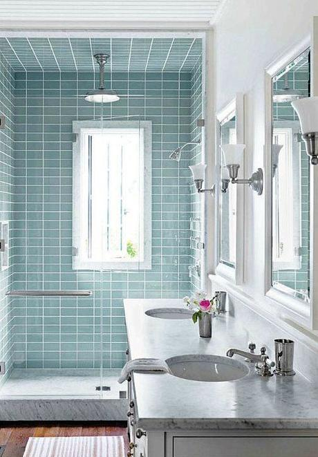 I like the wood floor and the aqua tiles and most of all, seeing that window inside the shower unit, because we have a window there and I don't want to lose it when we remodel.