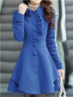 Sweet Flower Shaped Collar Woolen Coat