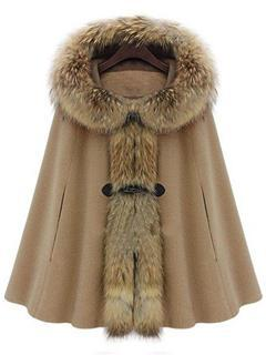 Elegant Fur Collar Hooded Cape Style Overcoat