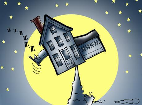 detail image illustration for Rumpus.com house precariously balanced on mountain peak, guy in bed sliding out window, moon stars mountain goat