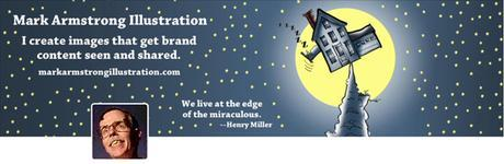 new Mark Armstrong Illustration 1500 pixel wide Twitter header image with website URL Henry Miller quote as displayed on iMac desktop monitor