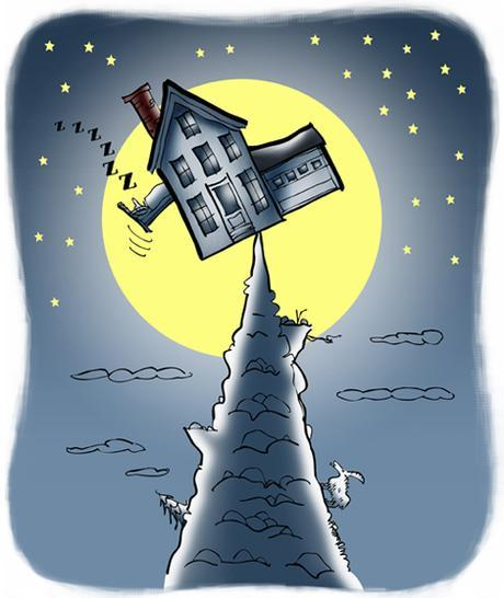 illustration for Rumpus.com house precariously balanced on mountain peak, guy in bed sliding out window, moon stars mountain goat