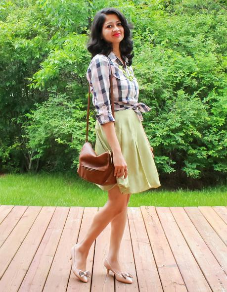Plaid Shirt and Mint Dress