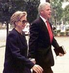 WASHINGTON : President Clinton and Hillary Rodham Clinton arrive at church, Sunday, in Washington.  Monday, when President Clinton testifies via satellite before the grand jury, he'll become the first sitting president to do so. AP/PTI