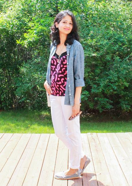 Printed Cami & White Jeans