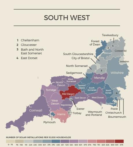 South West England Solar Map